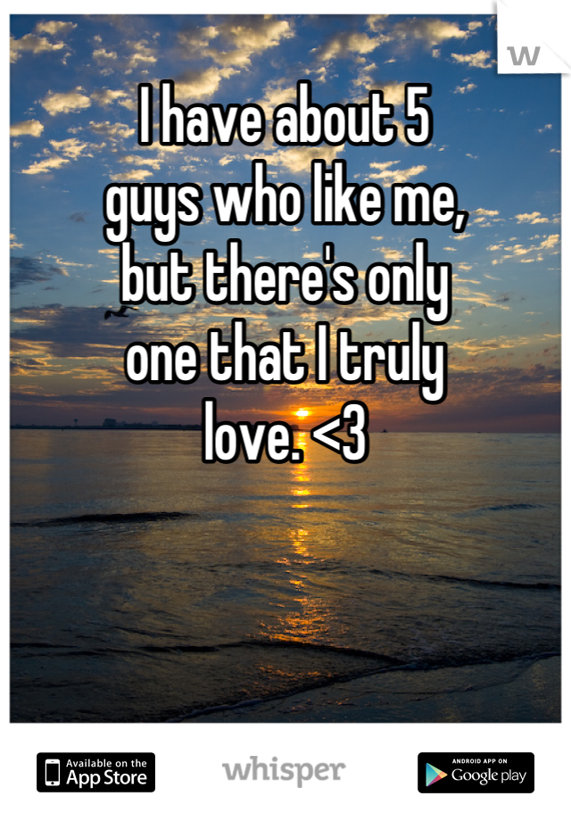 I have about 5 guys who like me, but there's only  one that I truly  love. <3