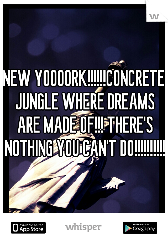 NEW YOOOORK!!!!!!CONCRETE JUNGLE WHERE DREAMS ARE MADE OF!!! THERE'S NOTHING YOU CAN'T DO!!!!!!!!!!