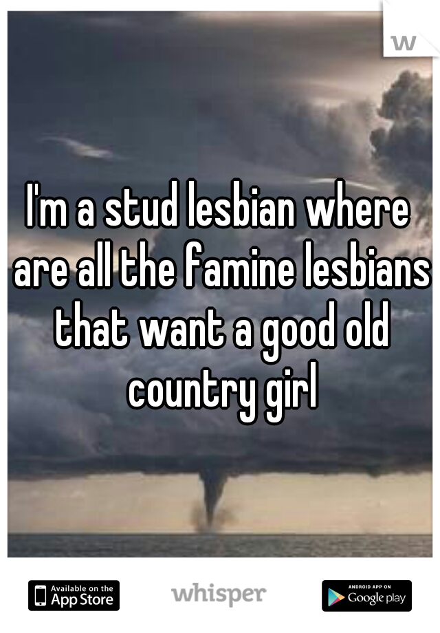 I'm a stud lesbian where are all the famine lesbians that want a good old country girl