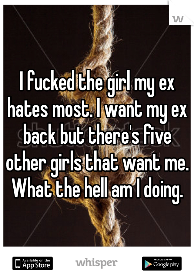 I fucked the girl my ex hates most. I want my ex back but there's five other girls that want me. What the hell am I doing.