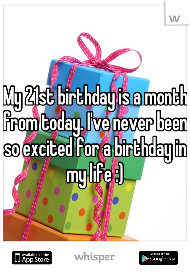 My 21st birthday is a month from today. I've never been so excited for a birthday in my life :)