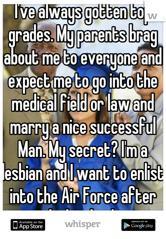 I've always gotten top grades. My parents brag about me to everyone and expect me to go into the medical field or law and marry a nice successful Man. My secret? I'm a lesbian and I want to enlist into the Air Force after high school.