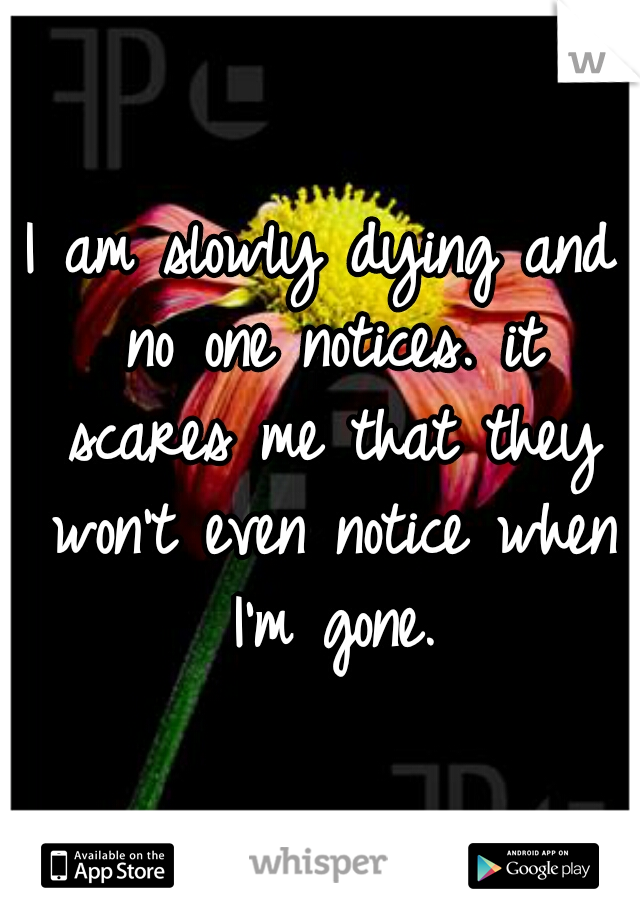I am slowly dying and no one notices. it scares me that they won't even notice when I'm gone.