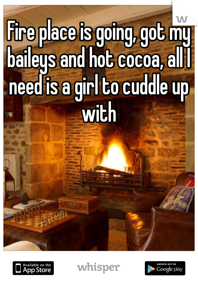 Fire place is going, got my baileys and hot cocoa, all I need is a girl to cuddle up with