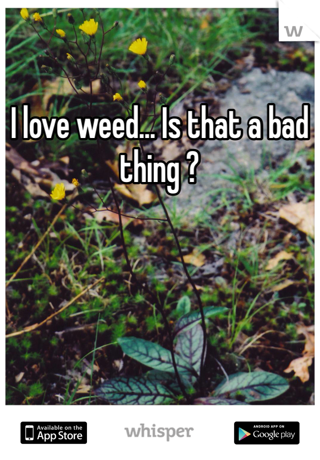 I love weed... Is that a bad thing ?