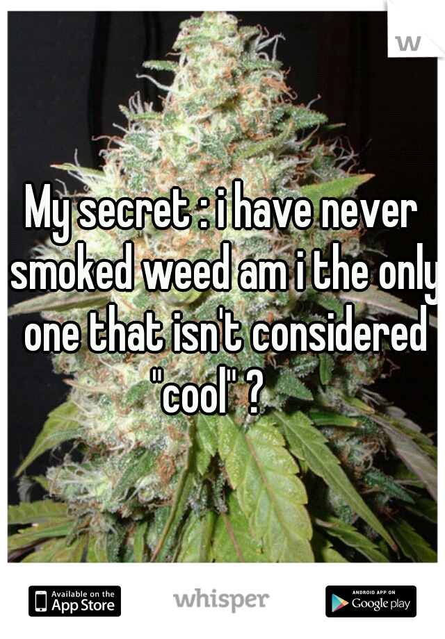 """My secret : i have never smoked weed am i the only one that isn't considered """"cool"""" ?"""