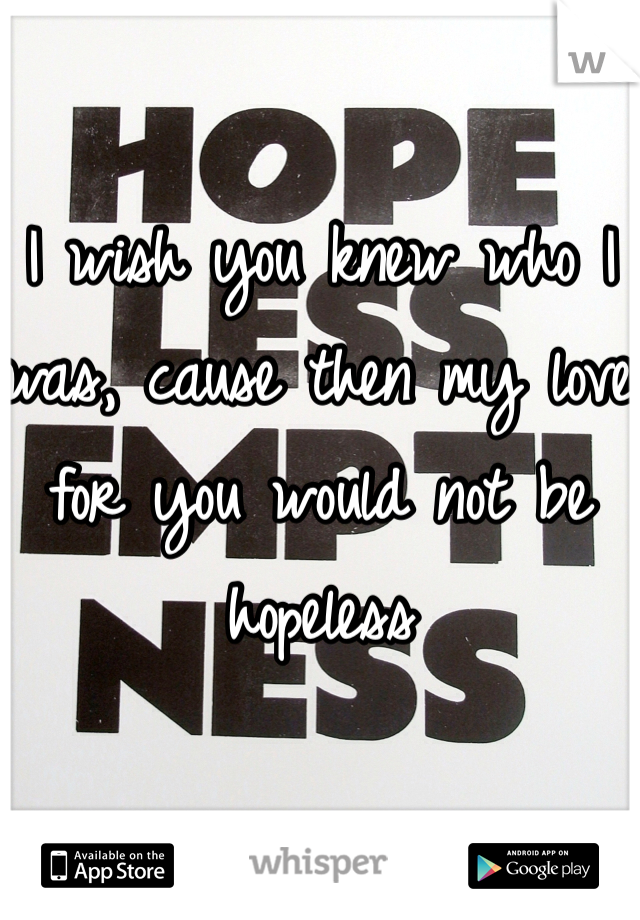 I wish you knew who I was, cause then my love for you would not be hopeless
