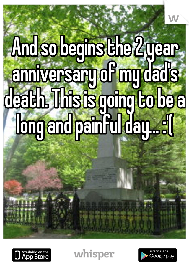 And so begins the 2 year anniversary of my dad's death. This is going to be a long and painful day... :'(
