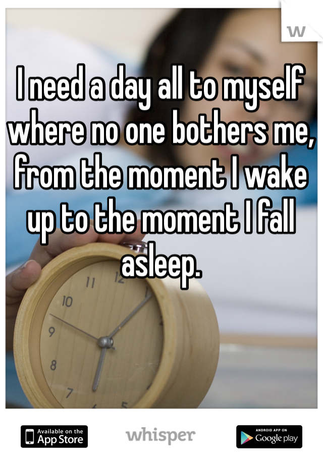 I need a day all to myself where no one bothers me, from the moment I wake up to the moment I fall asleep.