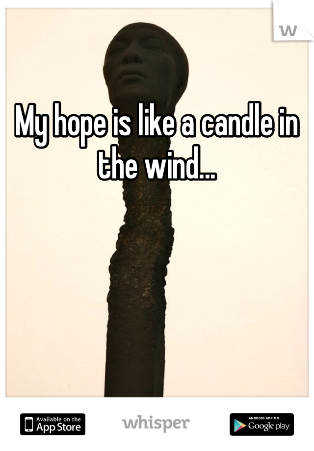 My hope is like a candle in the wind...