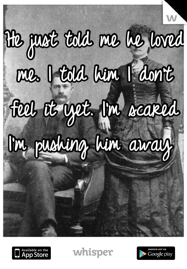 He just told me he loved me. I told him I don't feel it yet. I'm scared I'm pushing him away