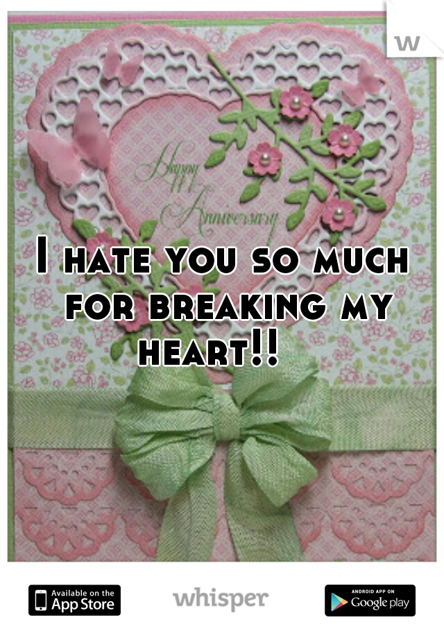 I hate you so much for breaking my heart!!