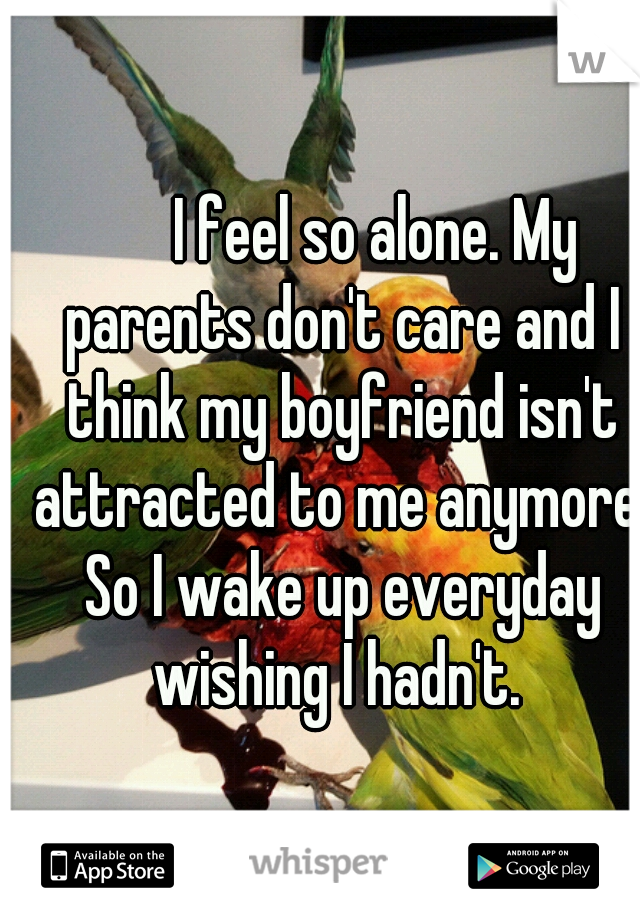 I feel so alone. My parents don't care and I think my boyfriend isn't attracted to me anymore. So I wake up everyday wishing I hadn't.