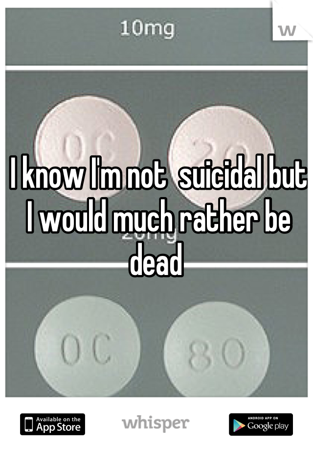 I know I'm not  suicidal but I would much rather be dead