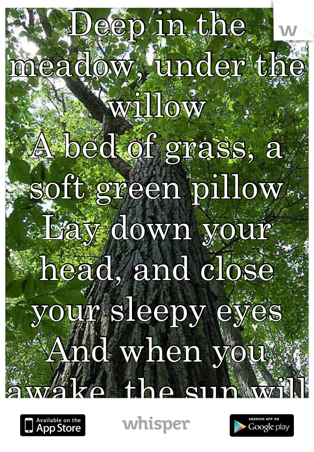Deep in the meadow, under the willow A bed of grass, a soft green pillow Lay down your head, and close your sleepy eyes And when you awake, the sun will rise.