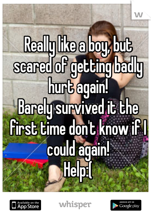 Really like a boy, but scared of getting badly hurt again! Barely survived it the first time don't know if I could again! Help:(