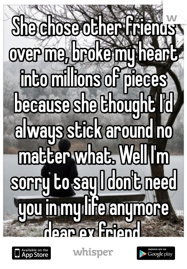 She chose other friends over me, broke my heart into millions of pieces because she thought I'd always stick around no matter what. Well I'm sorry to say I don't need you in my life anymore dear ex friend.