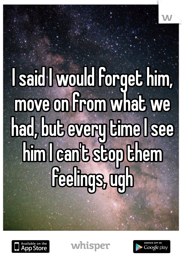 I said I would forget him, move on from what we had, but every time I see him I can't stop them feelings, ugh