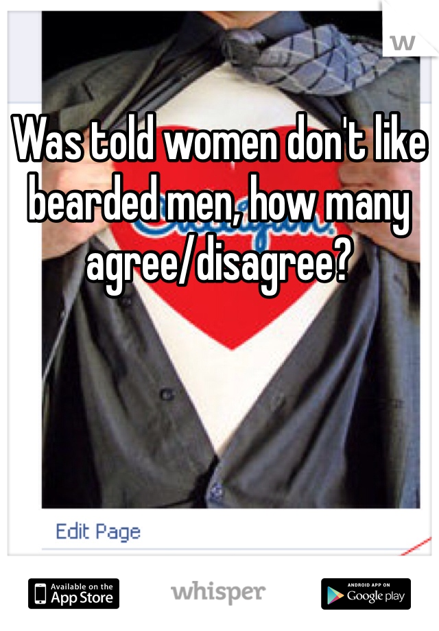 Was told women don't like bearded men, how many agree/disagree?