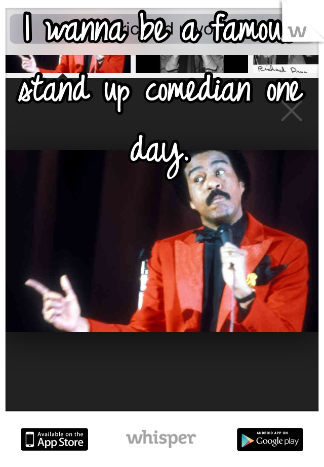I wanna be a famous stand up comedian one day.