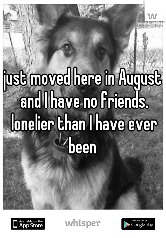 just moved here in August and I have no friends. lonelier than I have ever been