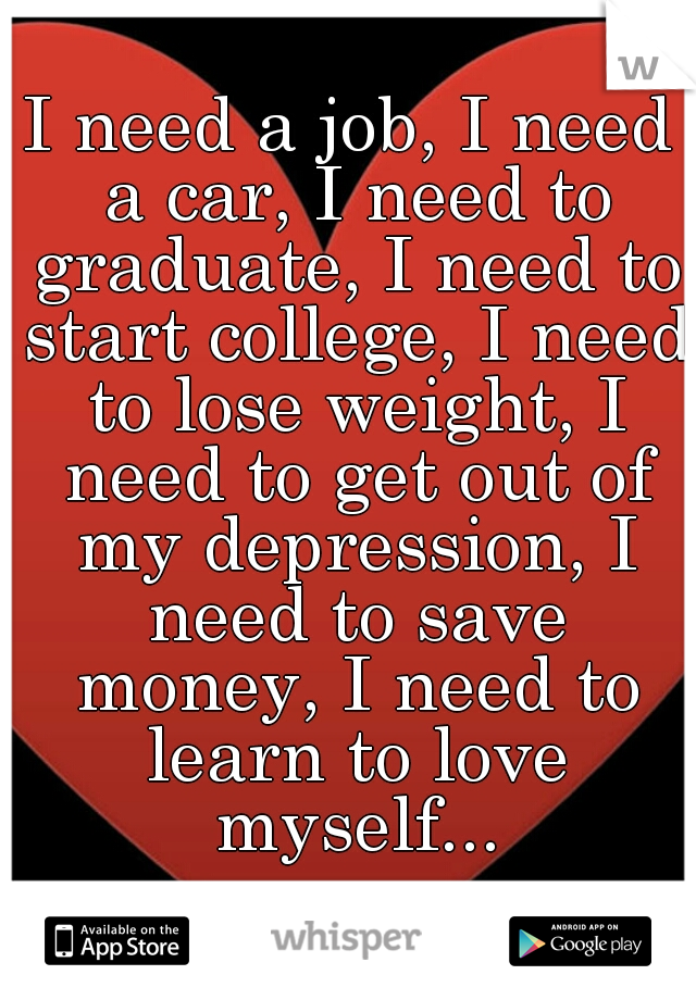 I need a job, I need a car, I need to graduate, I need to start college, I need to lose weight, I need to get out of my depression, I need to save money, I need to learn to love myself...