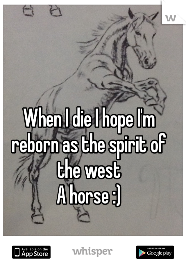 When I die I hope I'm reborn as the spirit of the west A horse :)