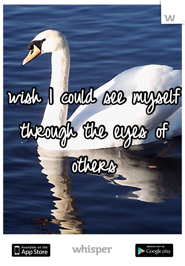 wish I could see myself through the eyes of others