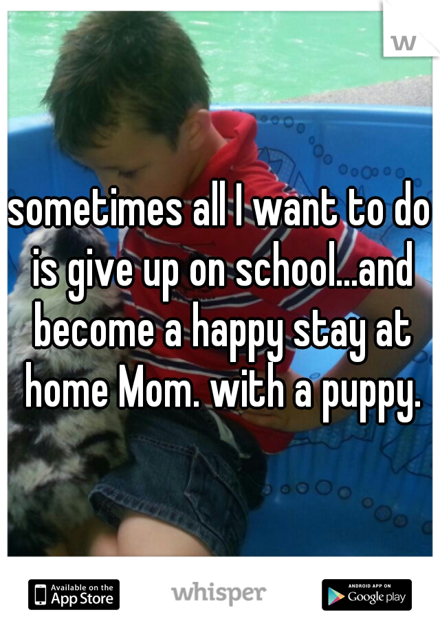 sometimes all I want to do is give up on school...and become a happy stay at home Mom. with a puppy.