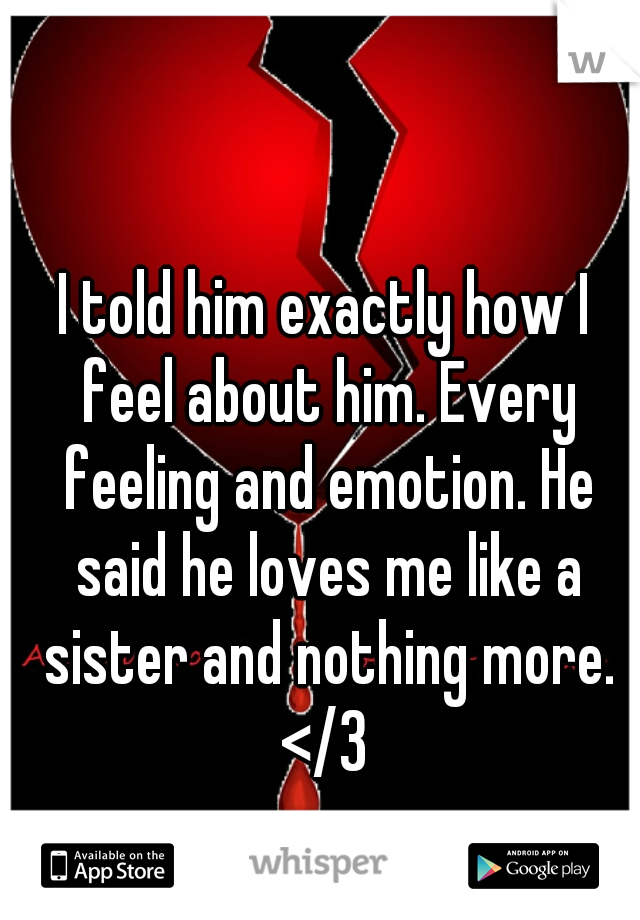 I told him exactly how I feel about him. Every feeling and emotion. He said he loves me like a sister and nothing more. </3