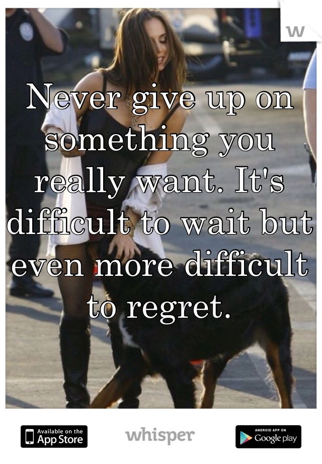 Never give up on something you really want. It's difficult to wait but even more difficult to regret.