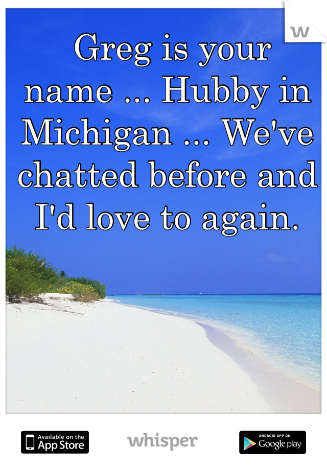 Greg is your name ... Hubby in Michigan ... We've chatted before and I'd love to again.