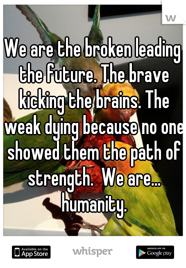 We are the broken leading the future. The brave kicking the brains. The weak dying because no one showed them the path of strength.  We are... humanity.