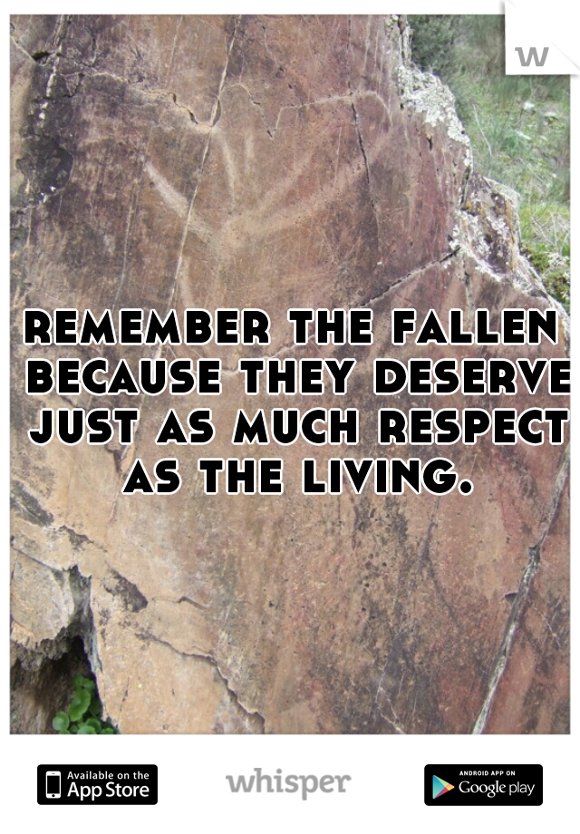 remember the fallen because they deserve just as much respect as the living.
