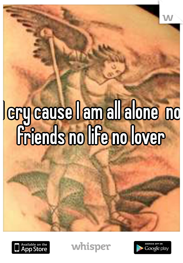 I cry cause I am all alone  no friends no life no lover