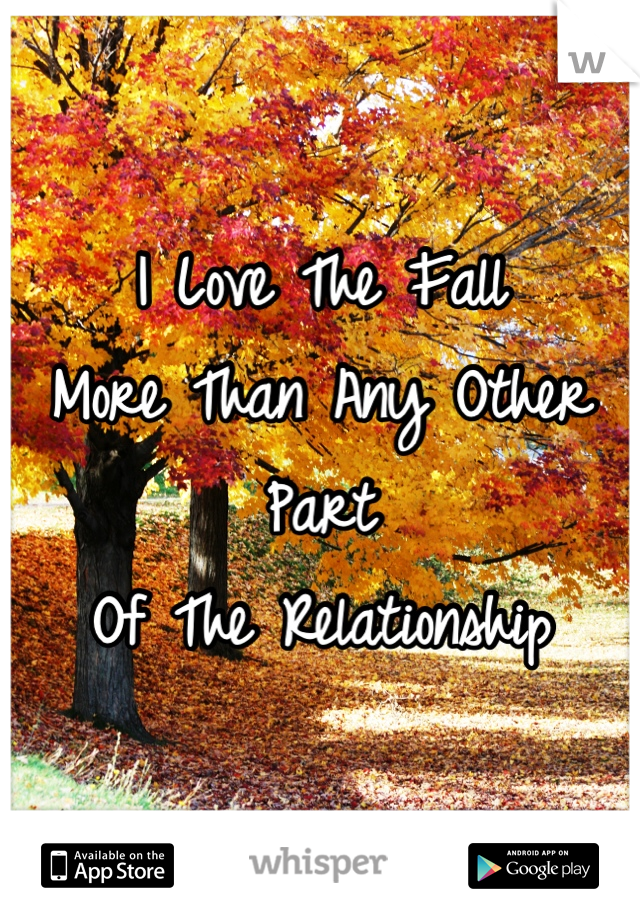 I Love The Fall  More Than Any Other Part Of The Relationship