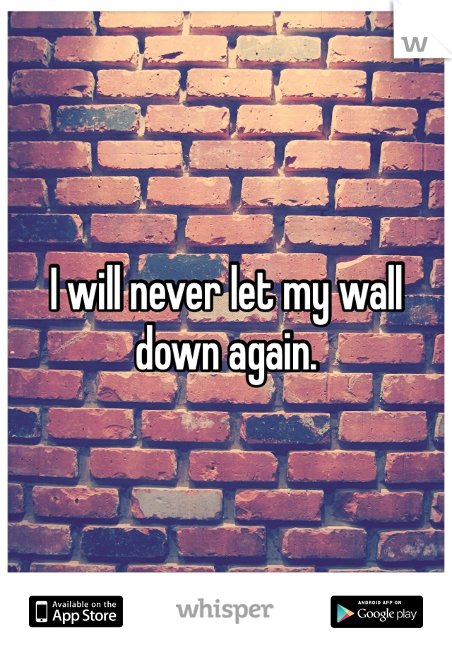 I will never let my wall down again.