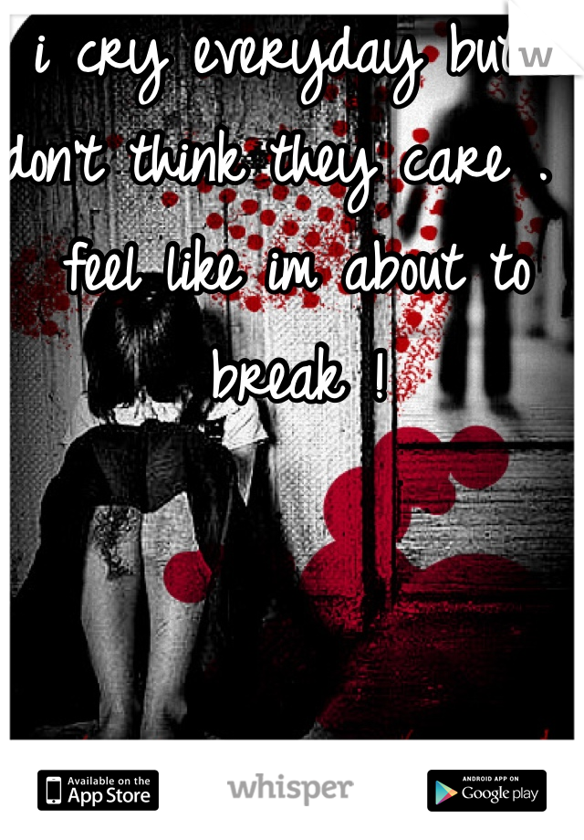 i cry everyday but i don't think they care . I feel like im about to break !