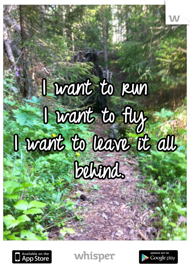 I want to run I want to fly I want to leave it all behind.