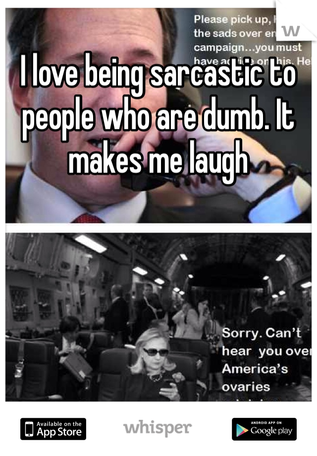 I love being sarcastic to people who are dumb. It makes me laugh