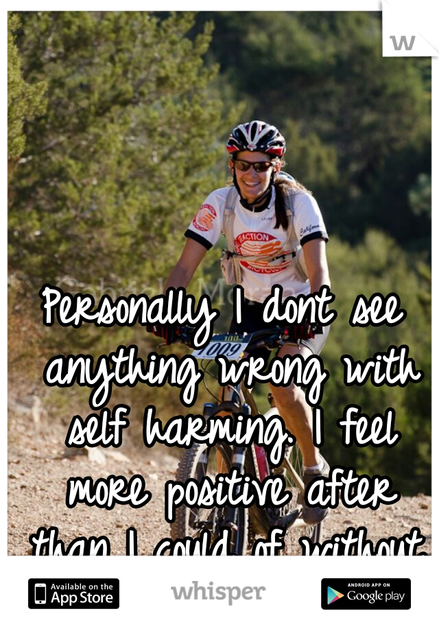 Personally I dont see anything wrong with self harming. I feel more positive after than I could of without.