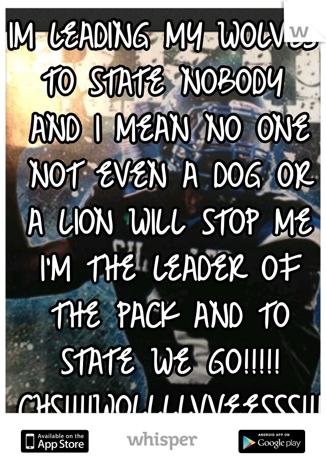 IM LEADING MY WOLVES TO STATE NOBODY  AND I MEAN NO ONE NOT EVEN A DOG OR A LION WILL STOP ME I'M THE LEADER OF THE PACK AND TO STATE WE GO!!!!! CHS!!!!WOLLLLVVEESSS!!!!