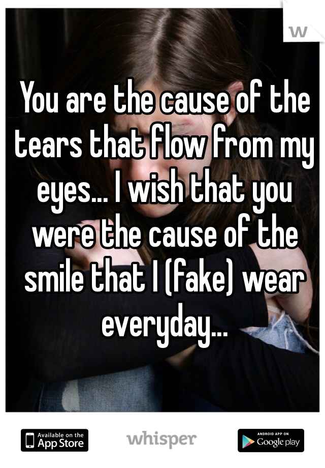 You are the cause of the tears that flow from my eyes... I wish that you were the cause of the smile that I (fake) wear everyday...