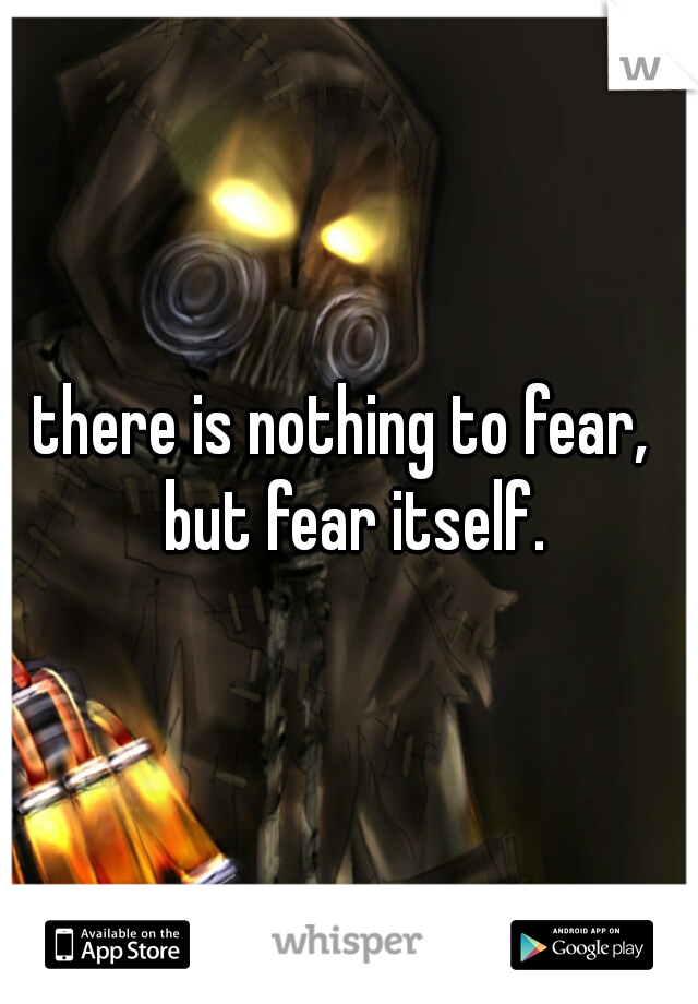 there is nothing to fear,  but fear itself.