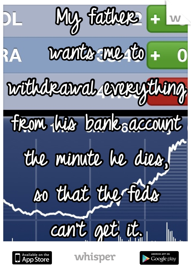 My father  wants me to withdrawal everything from his bank account  the minute he dies,  so that the feds  can't get it.