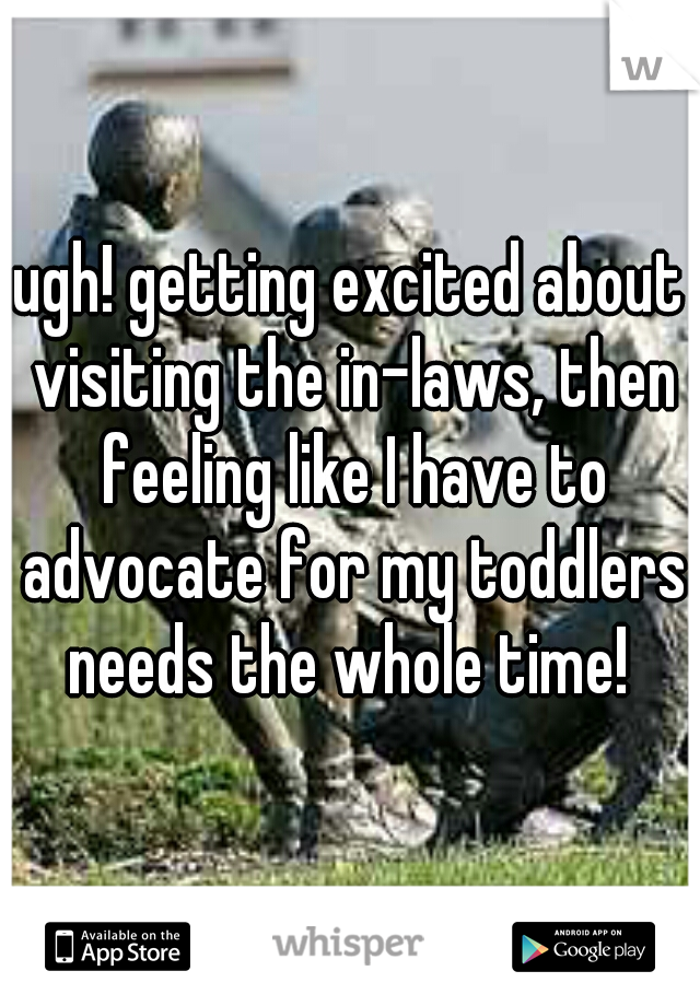 ugh! getting excited about visiting the in-laws, then feeling like I have to advocate for my toddlers needs the whole time!