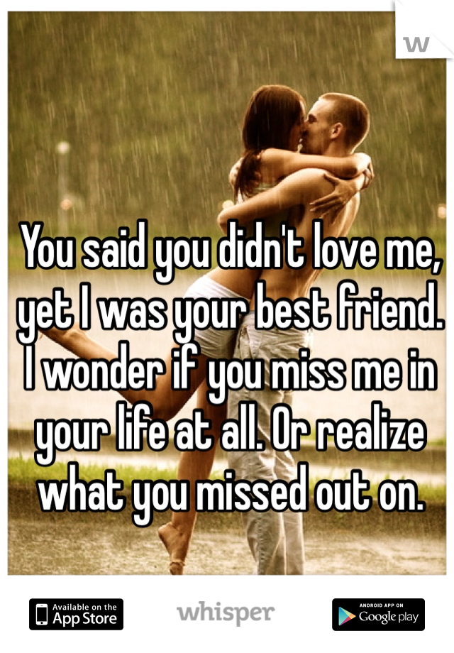 You said you didn't love me, yet I was your best friend. I wonder if you miss me in your life at all. Or realize what you missed out on.