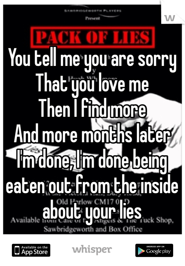 You tell me you are sorry That you love me Then I find more And more months later I'm done, I'm done being eaten out from the inside about your lies