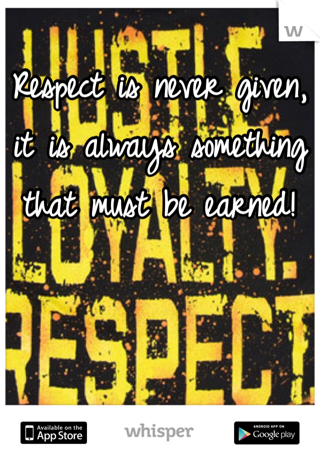 Respect is never given, it is always something that must be earned!
