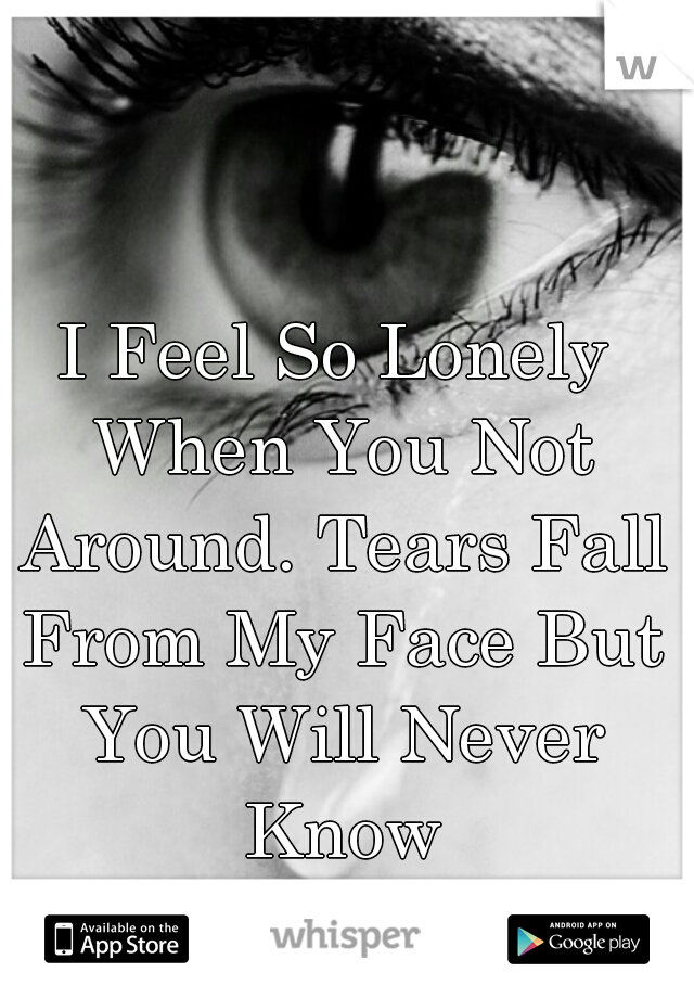 I Feel So Lonely When You Not Around. Tears Fall From My Face But You Will Never Know